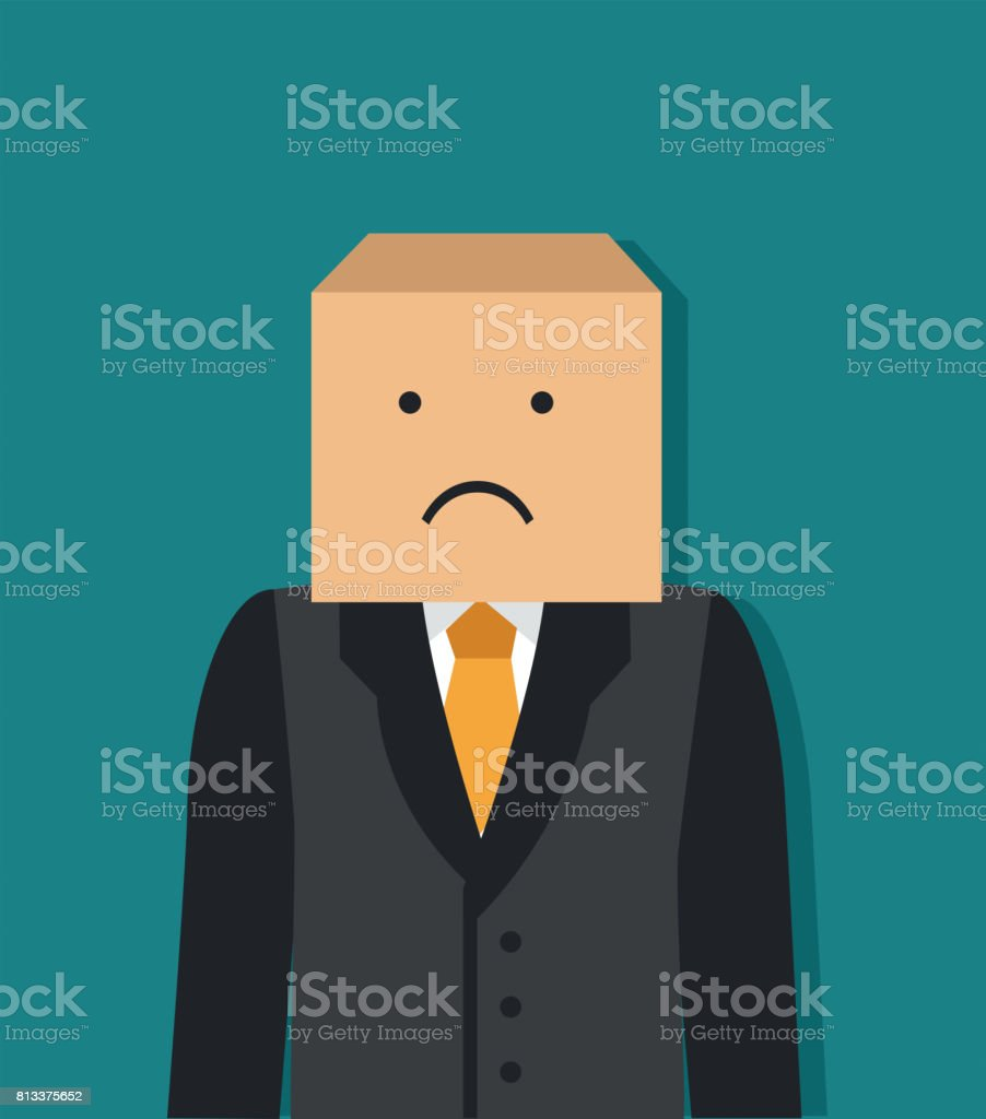 Businessman with a box on his head vector art illustration