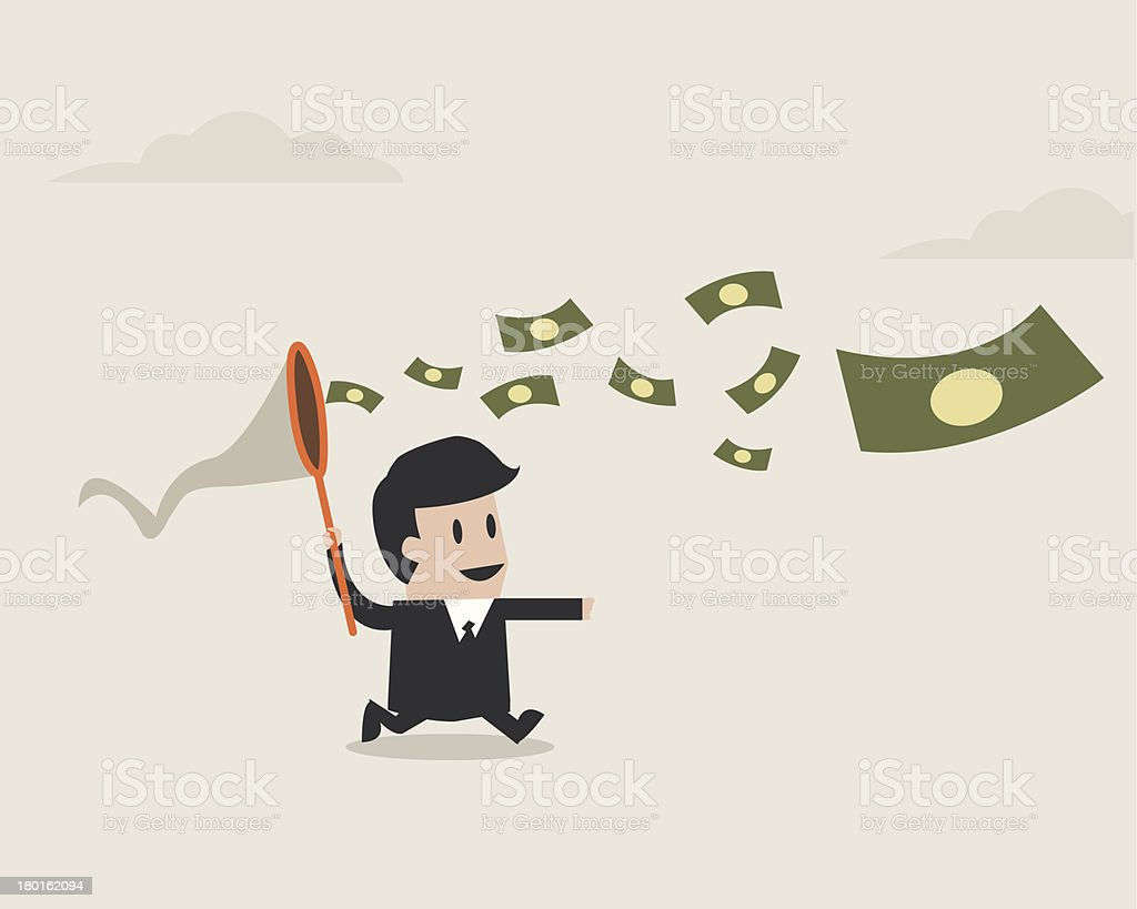 Businessman with a butterfly net trying to catch money. vector art illustration
