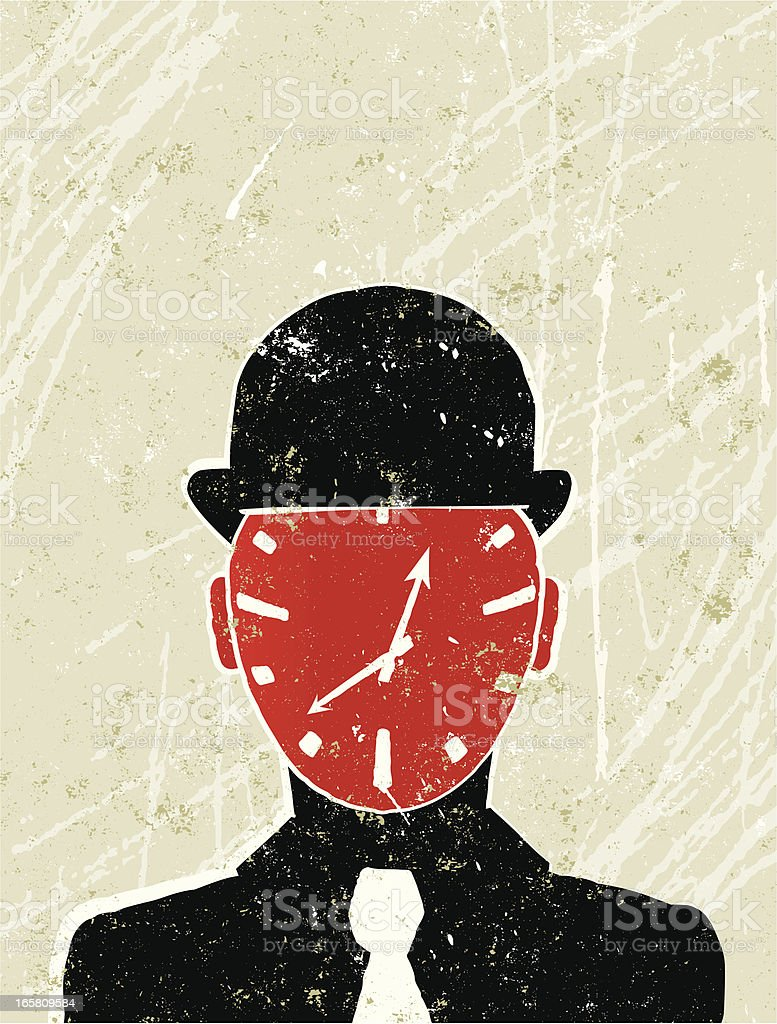Businessman with a Clock for his Face royalty-free stock vector art