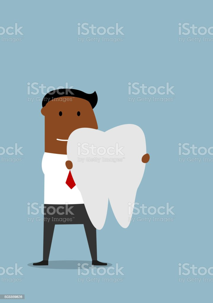 Businessman with a large white tooth vector art illustration