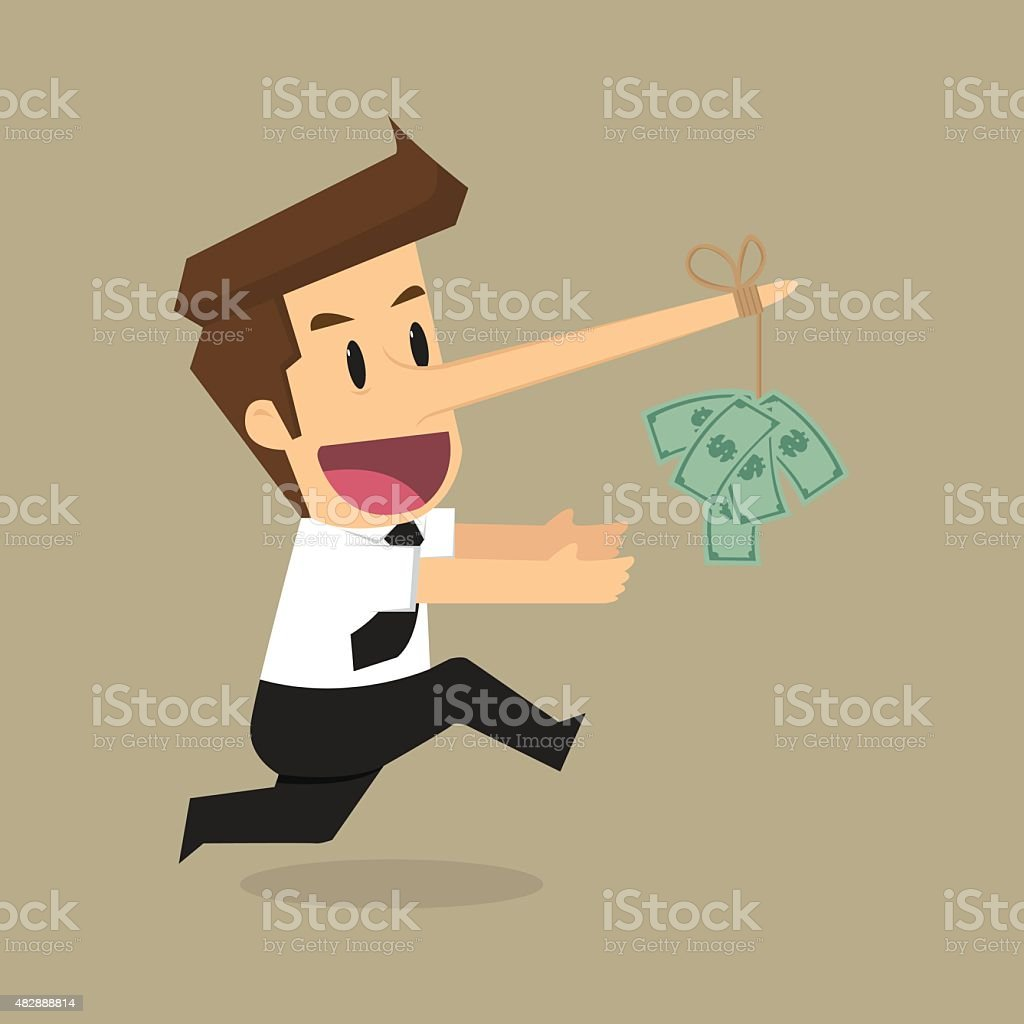 Businessman with a long nose money on money as bait vector art illustration