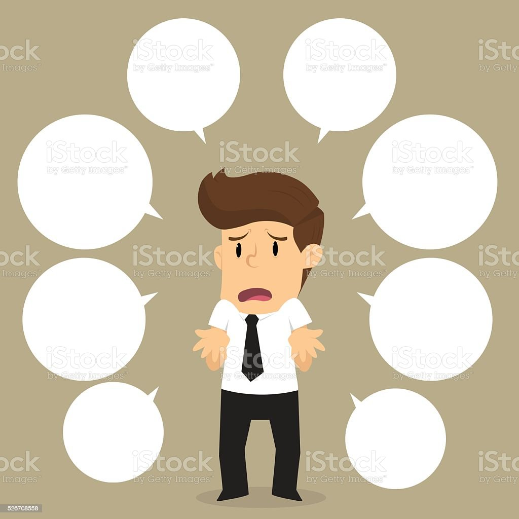 businessman with a lot of questions vector art illustration