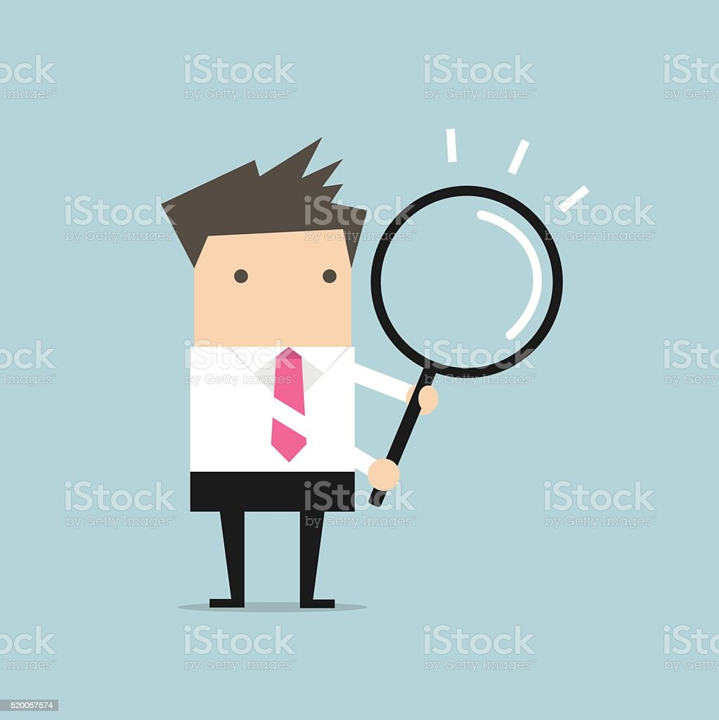 Businessman with a magnifying glass vector art illustration