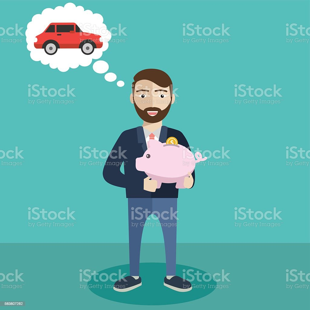 Businessman with a piggy bank, saving money for new car vector art illustration