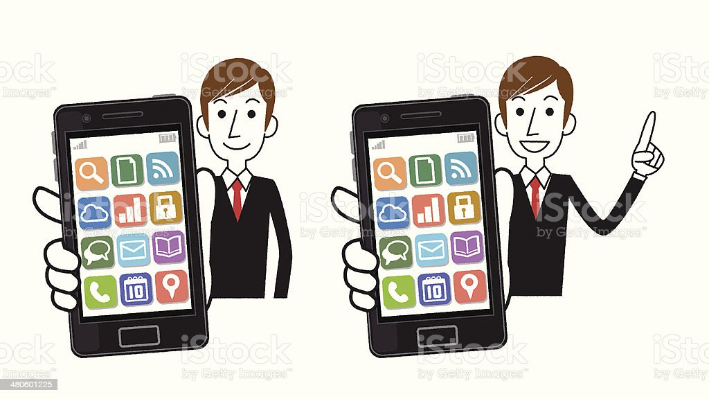 Businessman with a smartphone royalty-free stock vector art