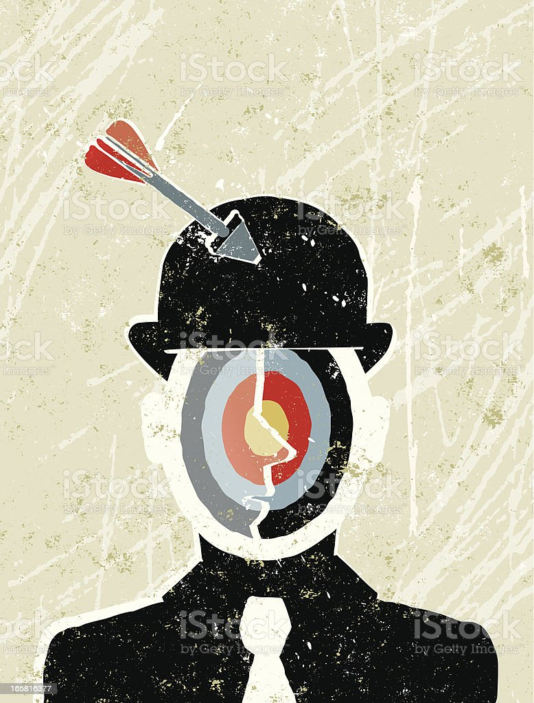 Businessman with a Target for his Face royalty-free stock vector art