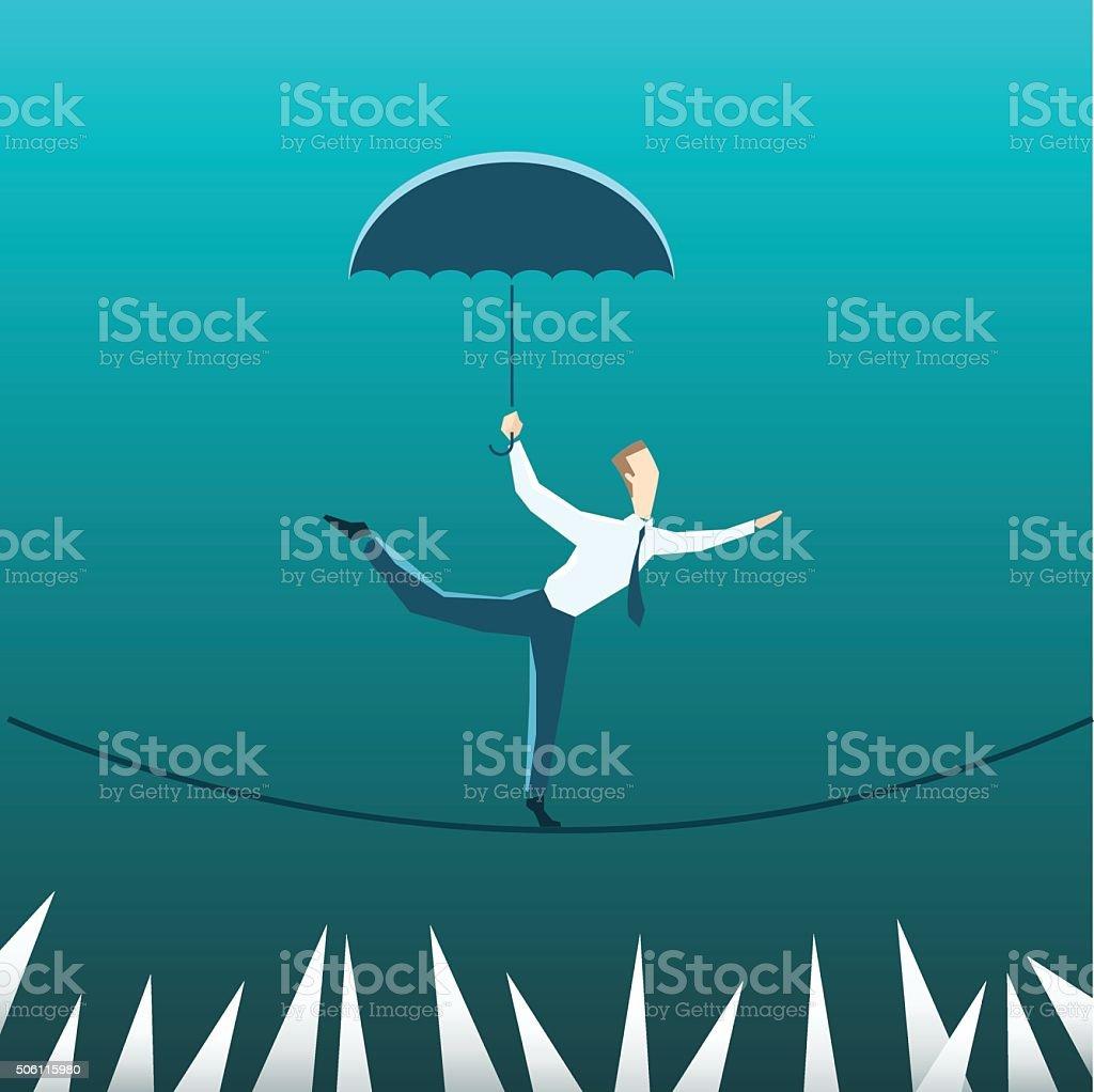 Businessman with an umbrella over the precipice vector art illustration