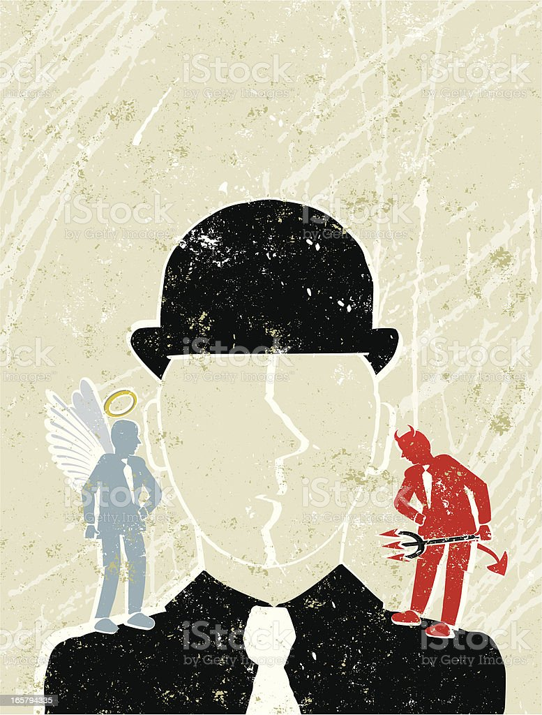 Businessman with Angel and Devil on his Shoulders vector art illustration