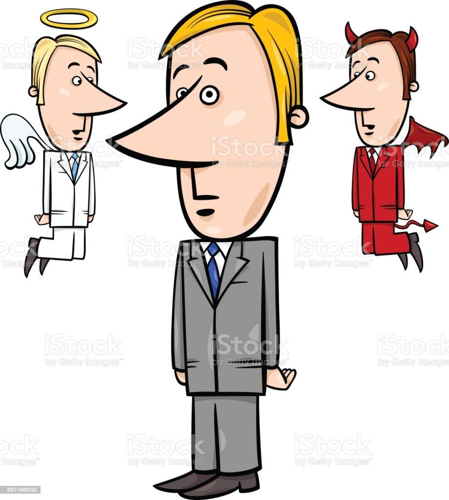 businessman with angel and devil vector art illustration
