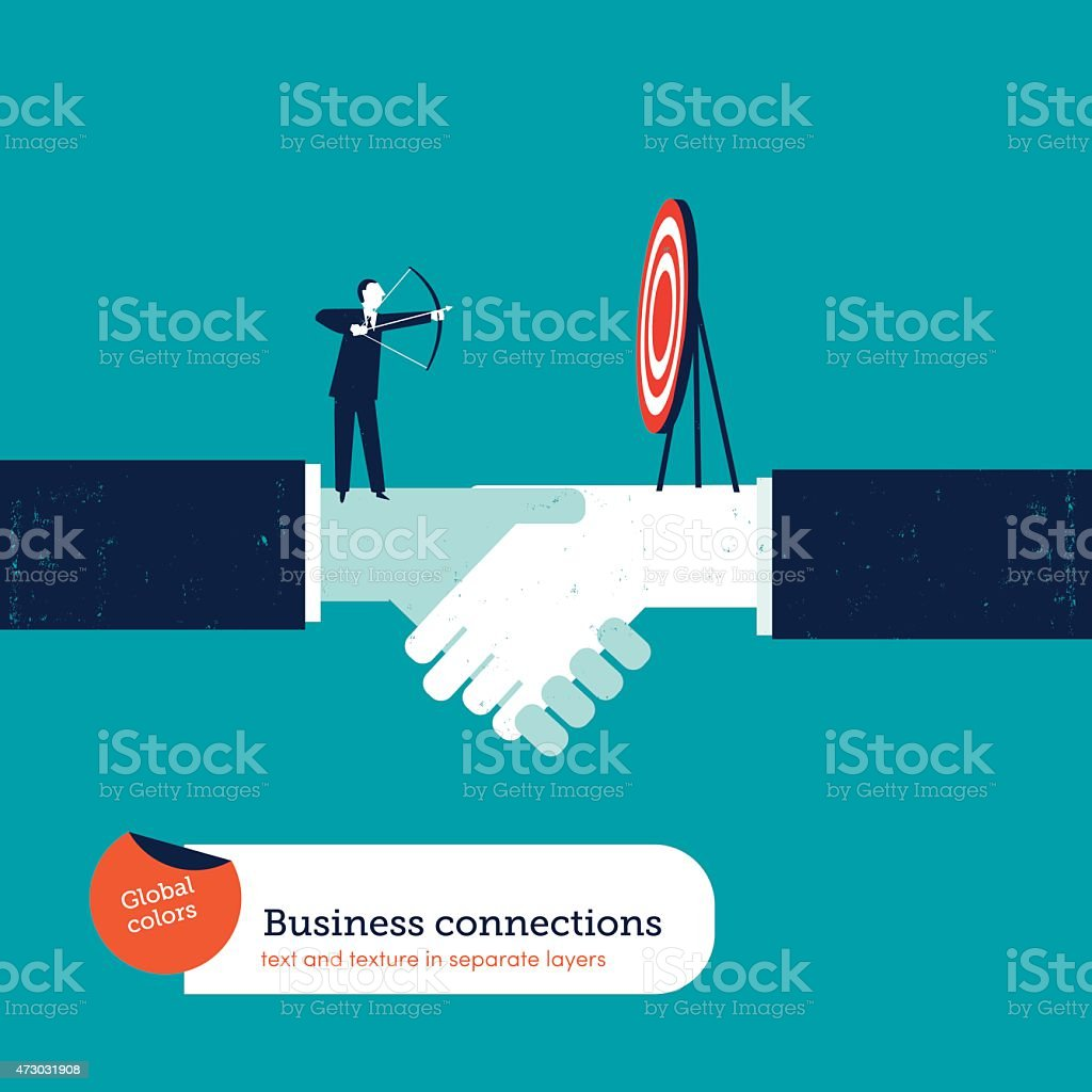 Businessman with arch and target on a handshake vector art illustration