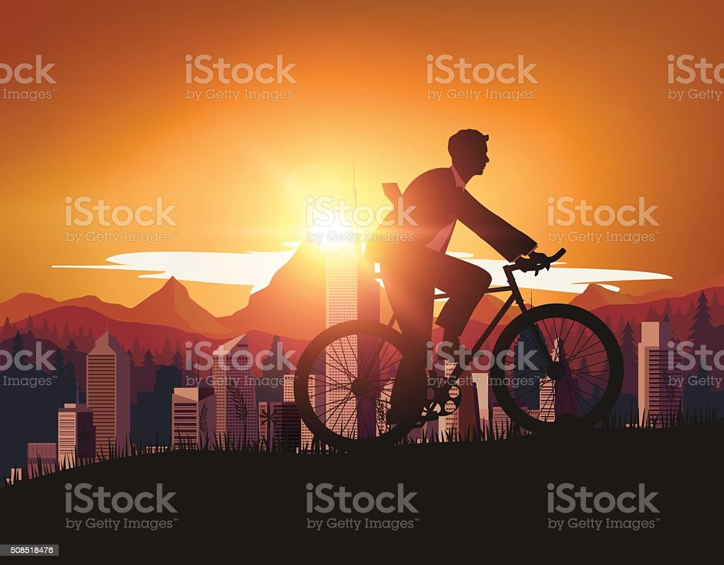 Businessman with Bicycle vector art illustration