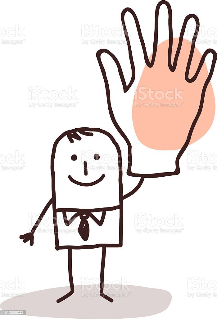 businessman with big hand up vector art illustration