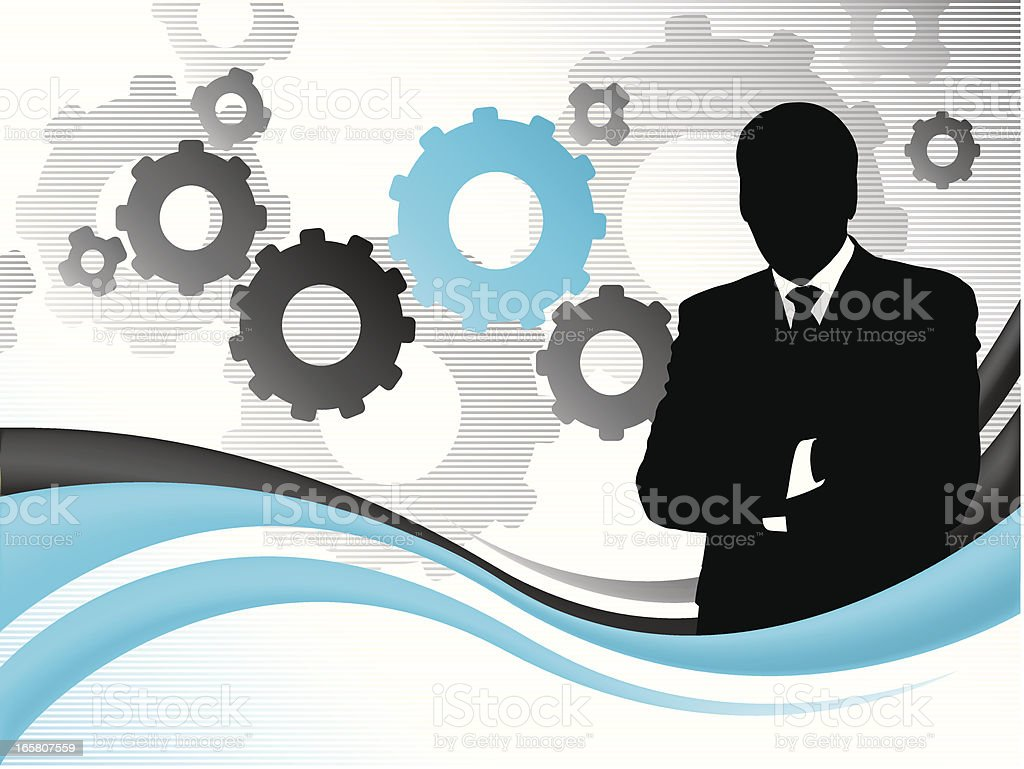 Businessman with blue gears royalty-free stock vector art