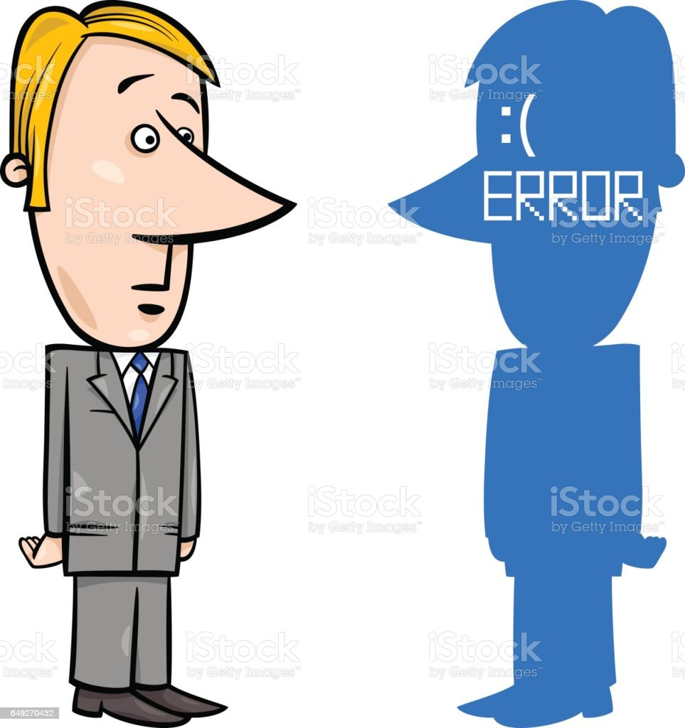 businessman with BSOD error vector art illustration