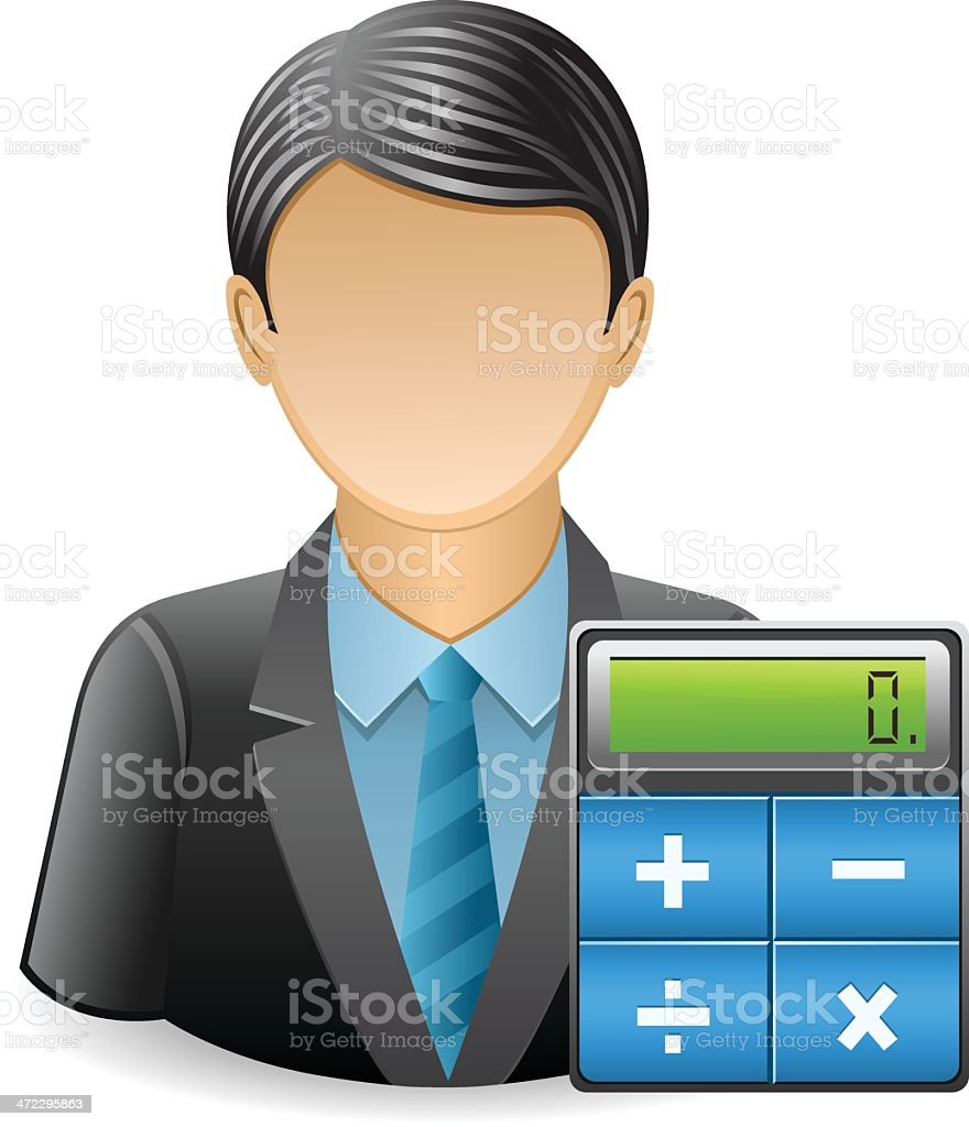 Businessman with Calculator royalty-free stock vector art
