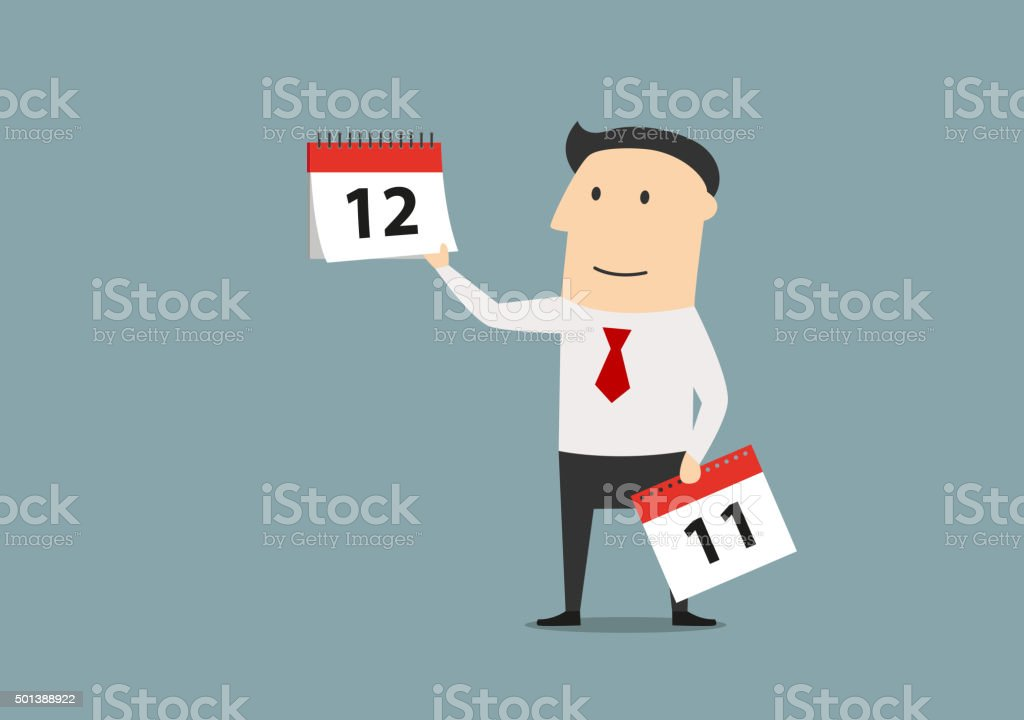 Businessman with calendar of last month vector art illustration