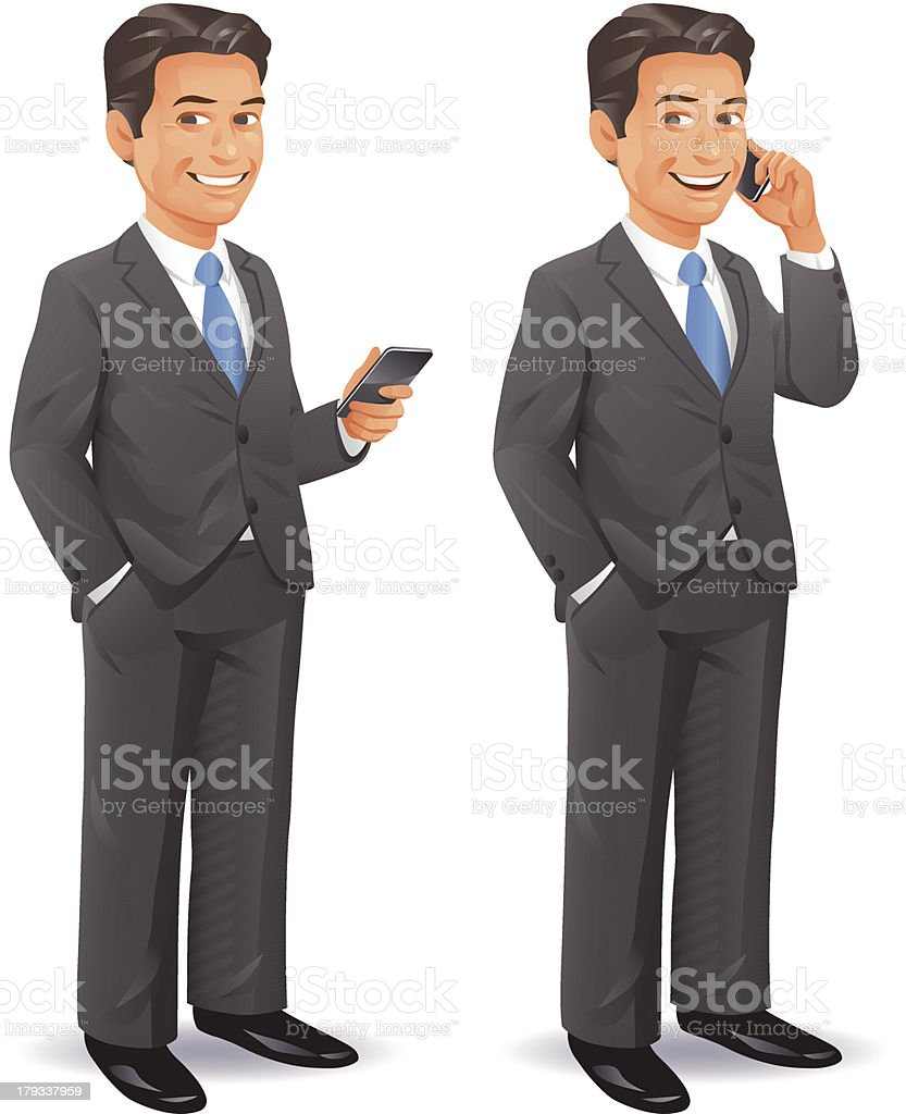 Businessman With Cell Phone vector art illustration