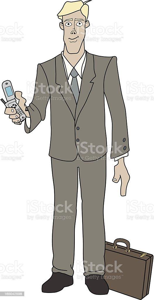 Businessman with Cellphone vector art illustration