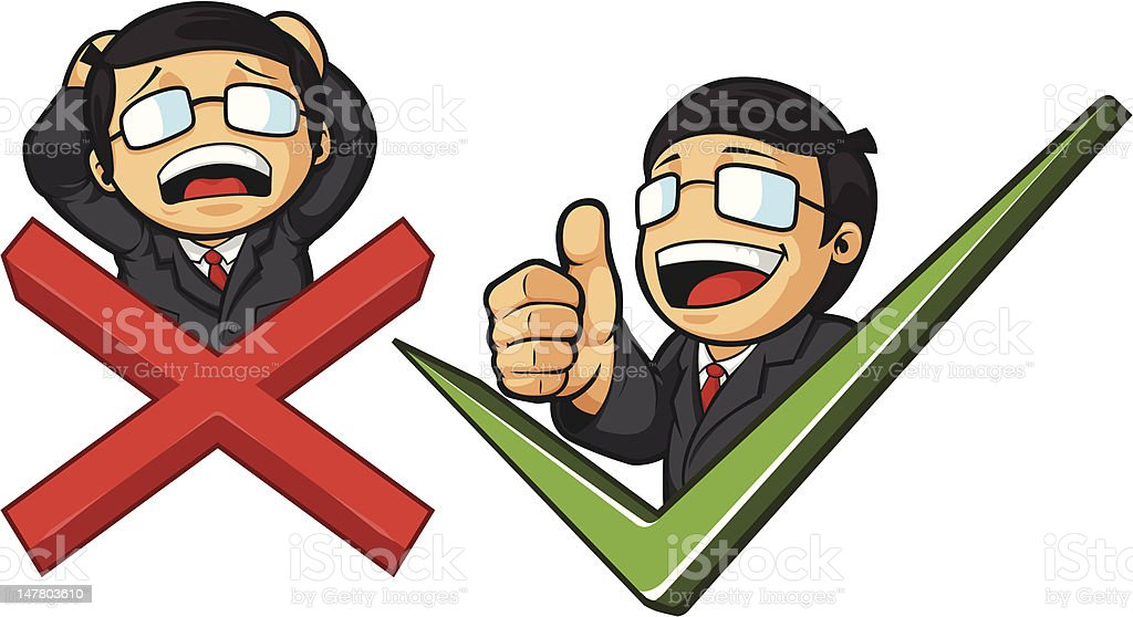 Businessman with Check Mark & Thumb Up or Cross & Frustration royalty-free stock vector art