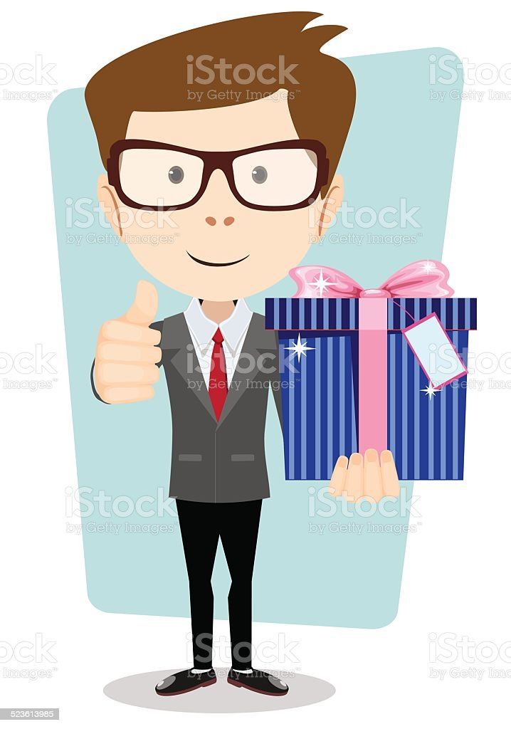 Businessman with colorful gift boxes giving the thumbs up. vector art illustration