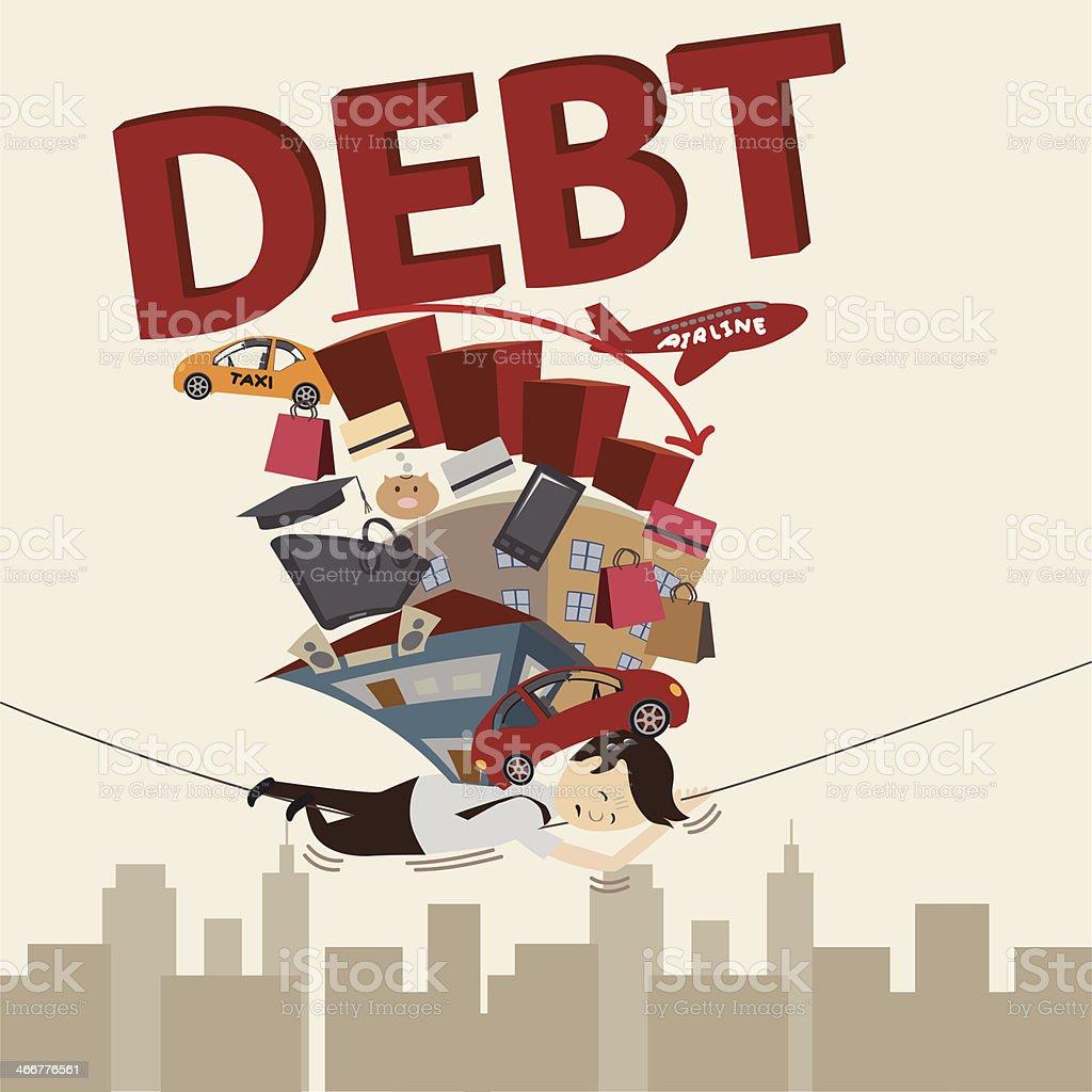 Businessman with Debt. Cartoon vector. vector art illustration