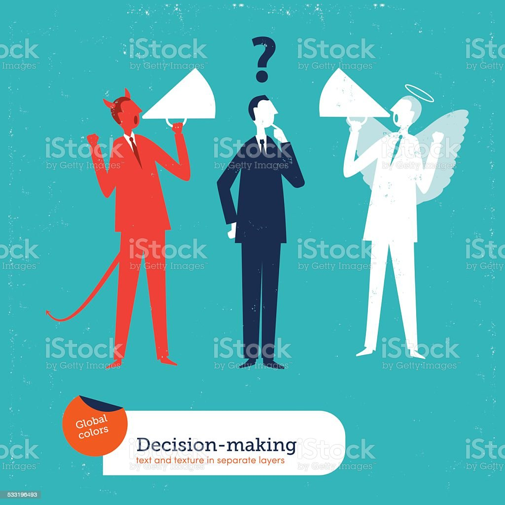 Businessman with demon and angel coach vector art illustration