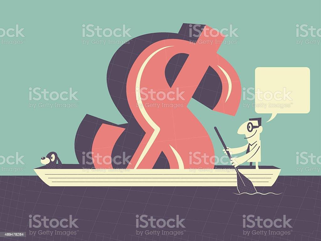 Businessman with dog, money (Dollar Sign, Currency Symbol) on ship vector art illustration