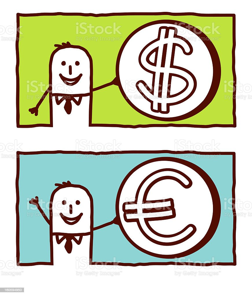 businessman with dollar and euro royalty-free stock vector art