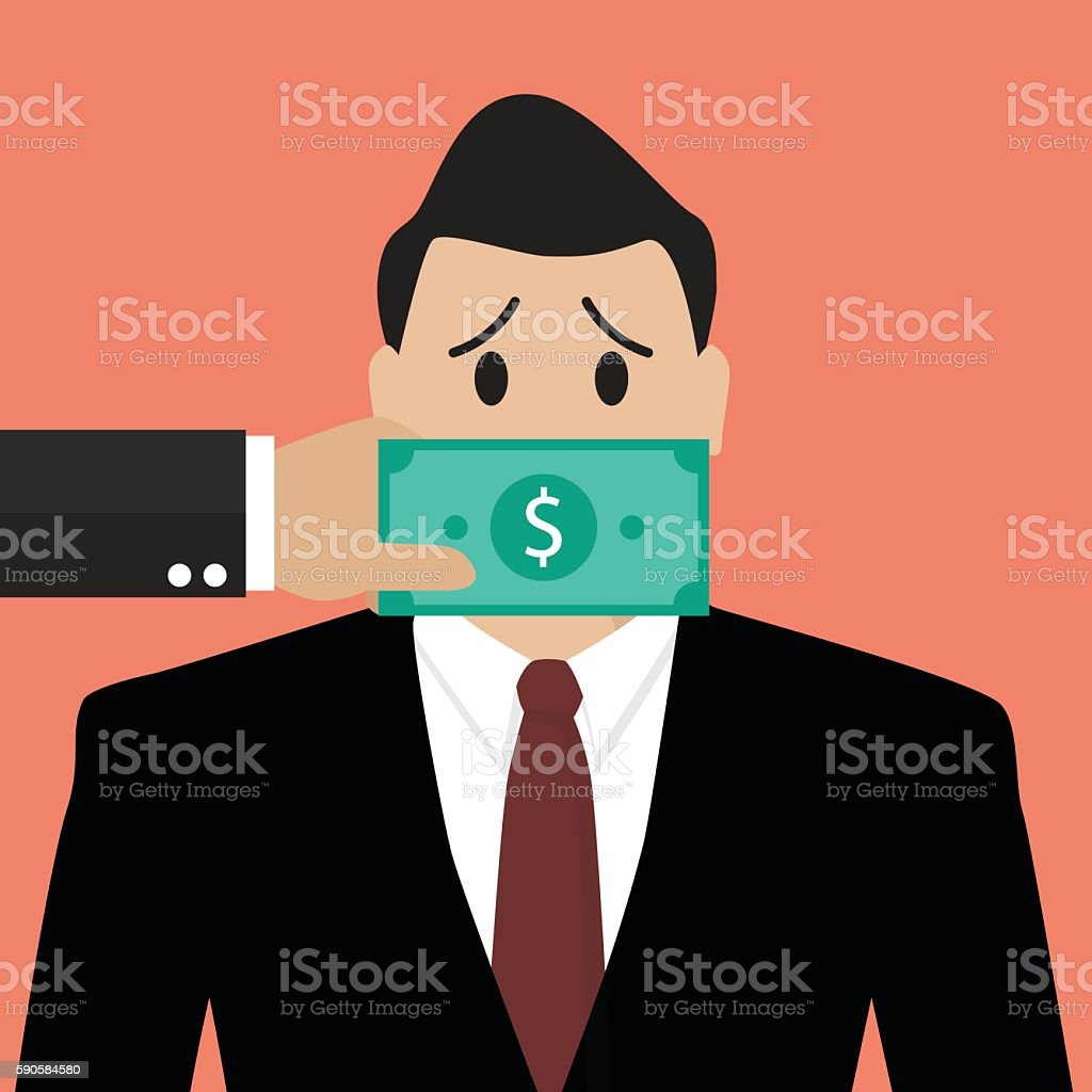 Businessman with dollar banknote taped to mouth vector art illustration