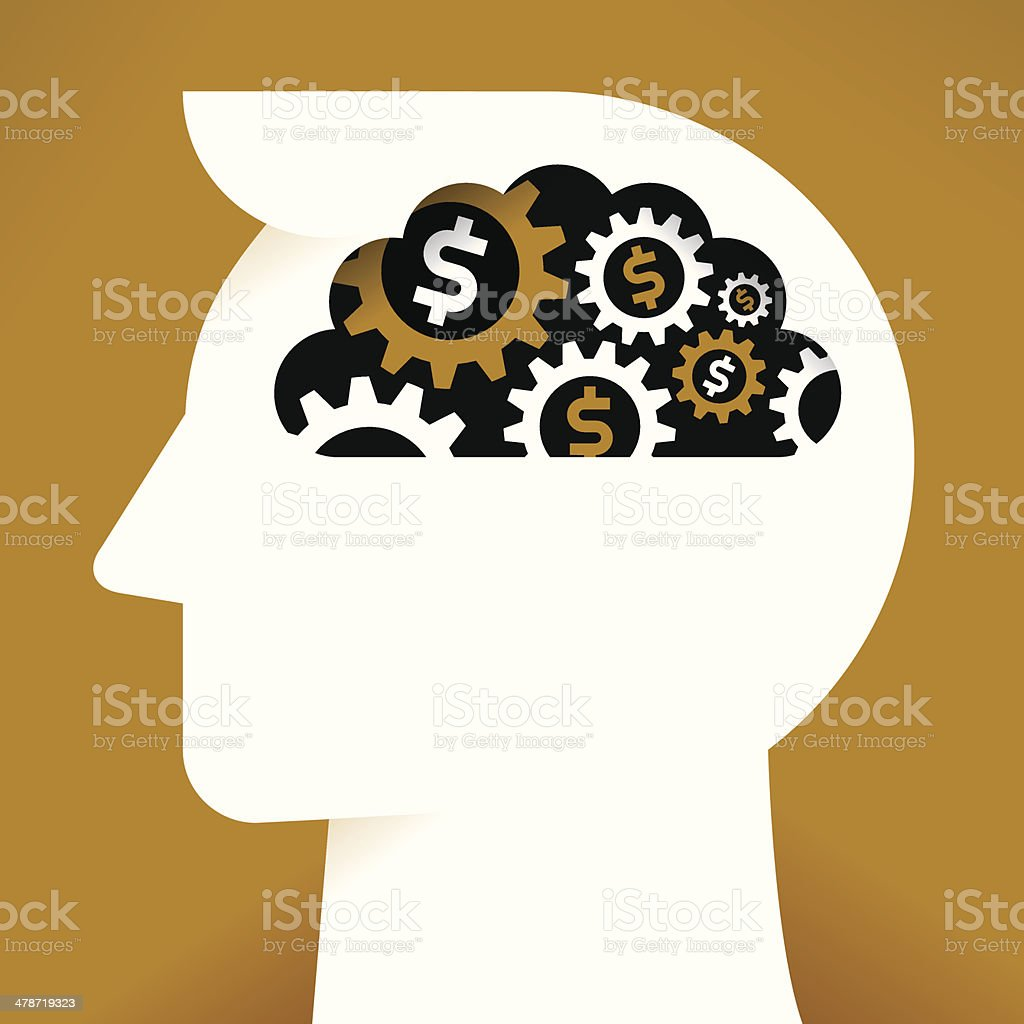 Businessman with dollar gears in the brain royalty-free stock vector art