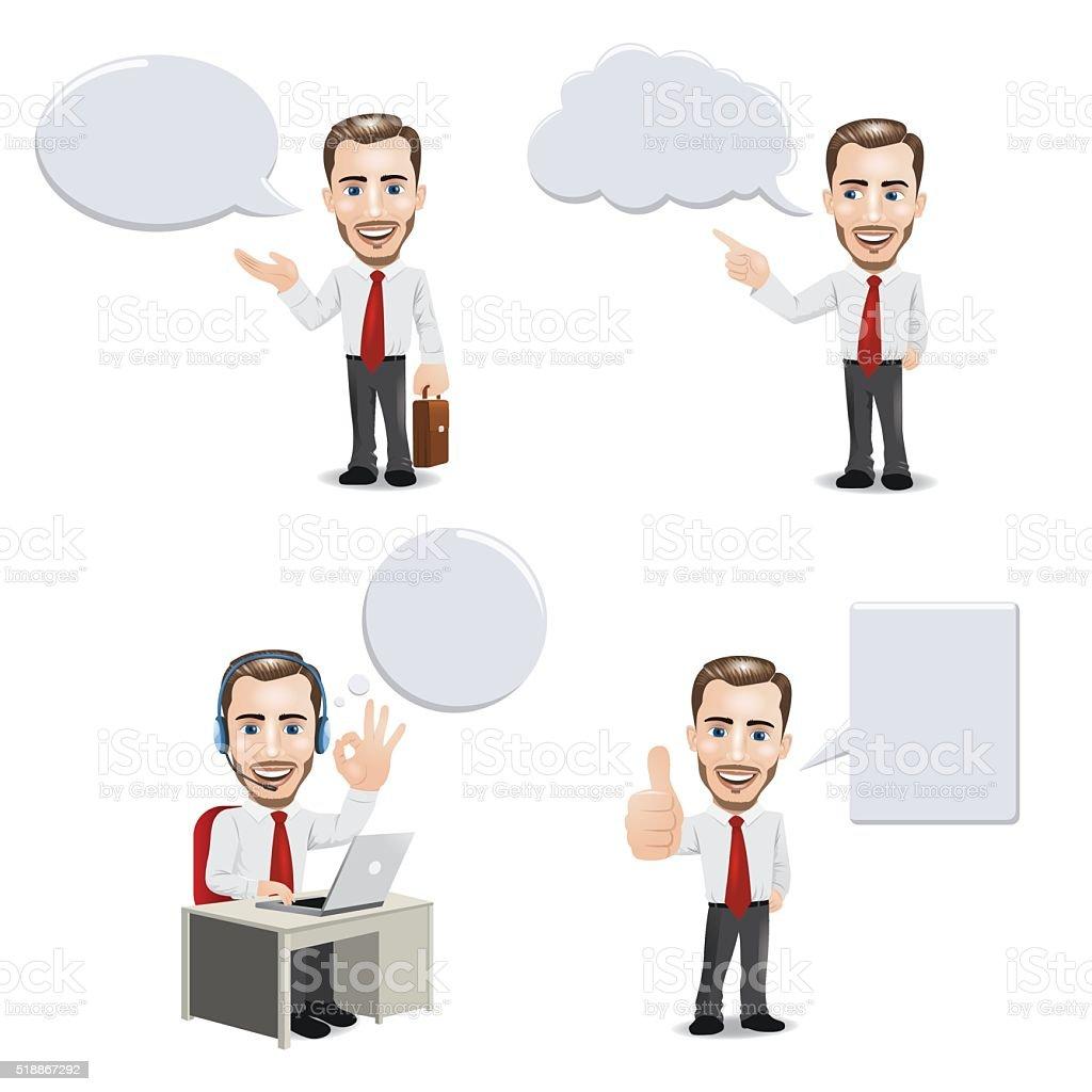 Businessman with Empty Speech Bubbles vector art illustration