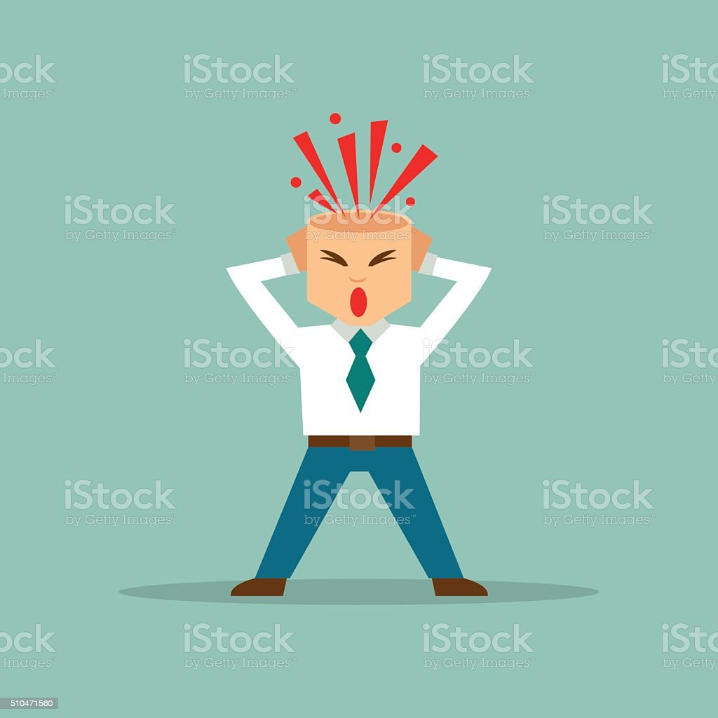 Businessman with exploded brain. Vector illustration vector art illustration