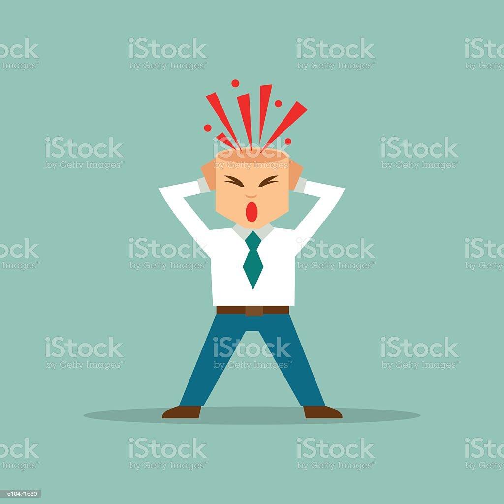 Businessman with exploded brain. Vector illustration vector art illustration