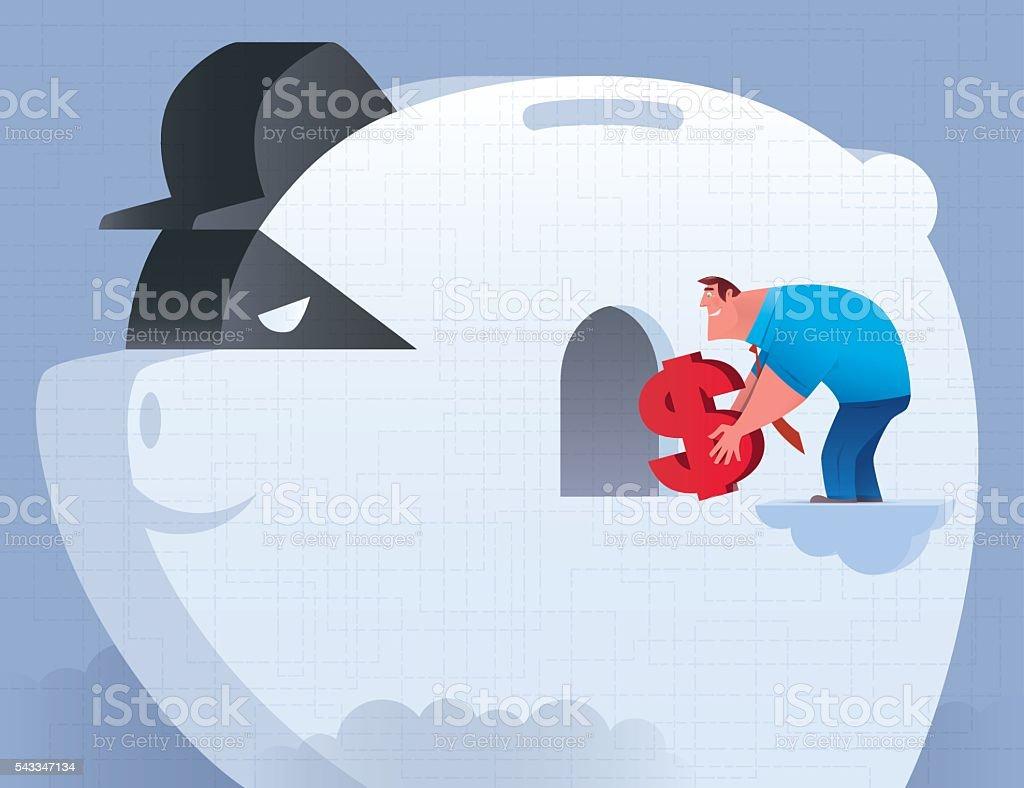 businessman with fake piggy bank vector art illustration