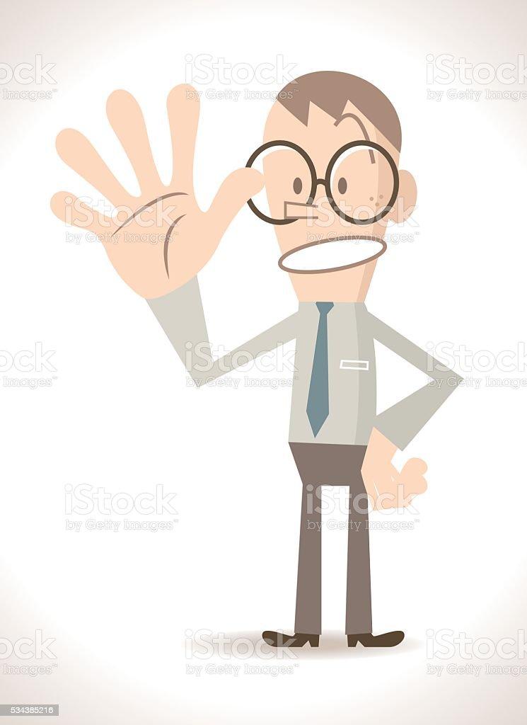 Businessman with five finger up, gesturing number 5 (hand sign) vector art illustration