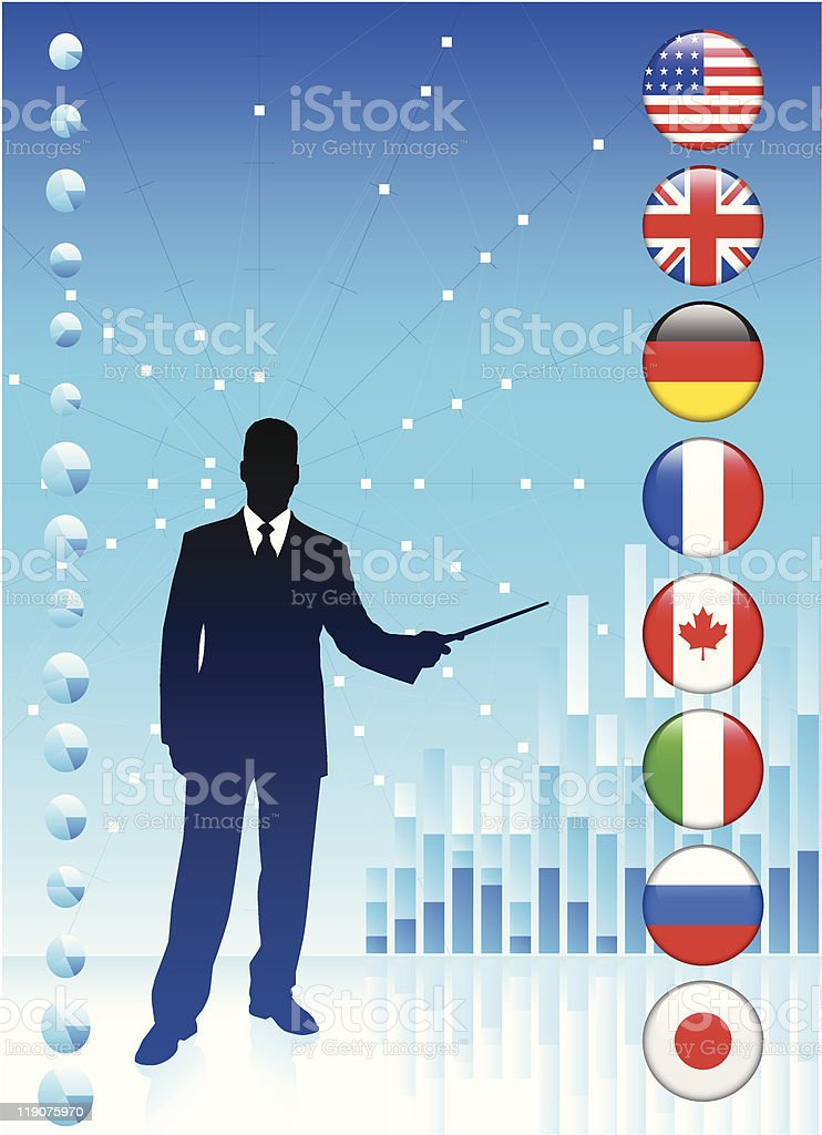 Businessman with Flag Internet Buttons royalty-free stock vector art