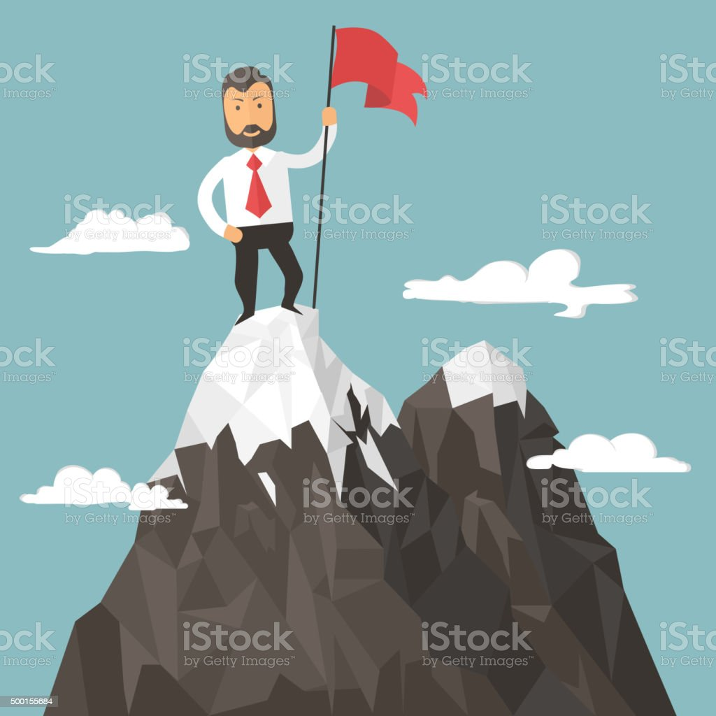 Businessman with flag on a Mountain peak, success vector art illustration