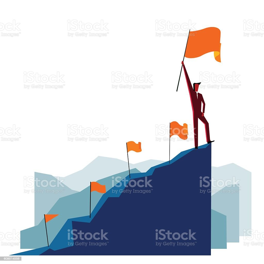 Businessman with flag on a Mountain peak vector art illustration