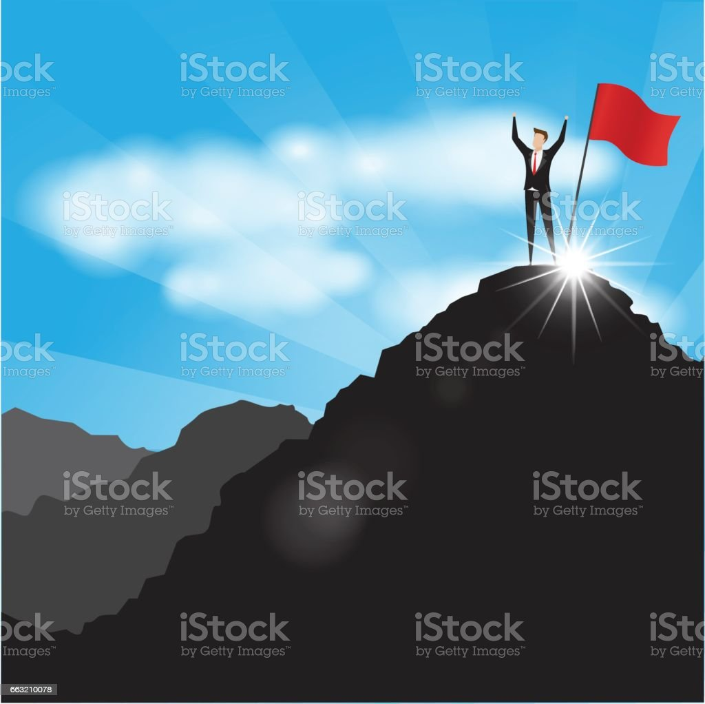 Businessman with flag on mountain top. vector art illustration