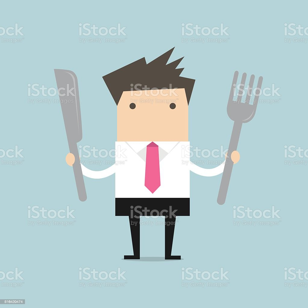 Businessman with fork and knife vector vector art illustration