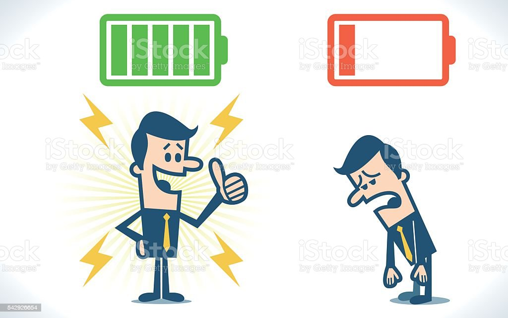 Businessman with full and low battery vector art illustration