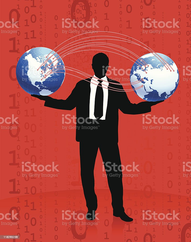 Businessman with globes red background royalty-free stock vector art