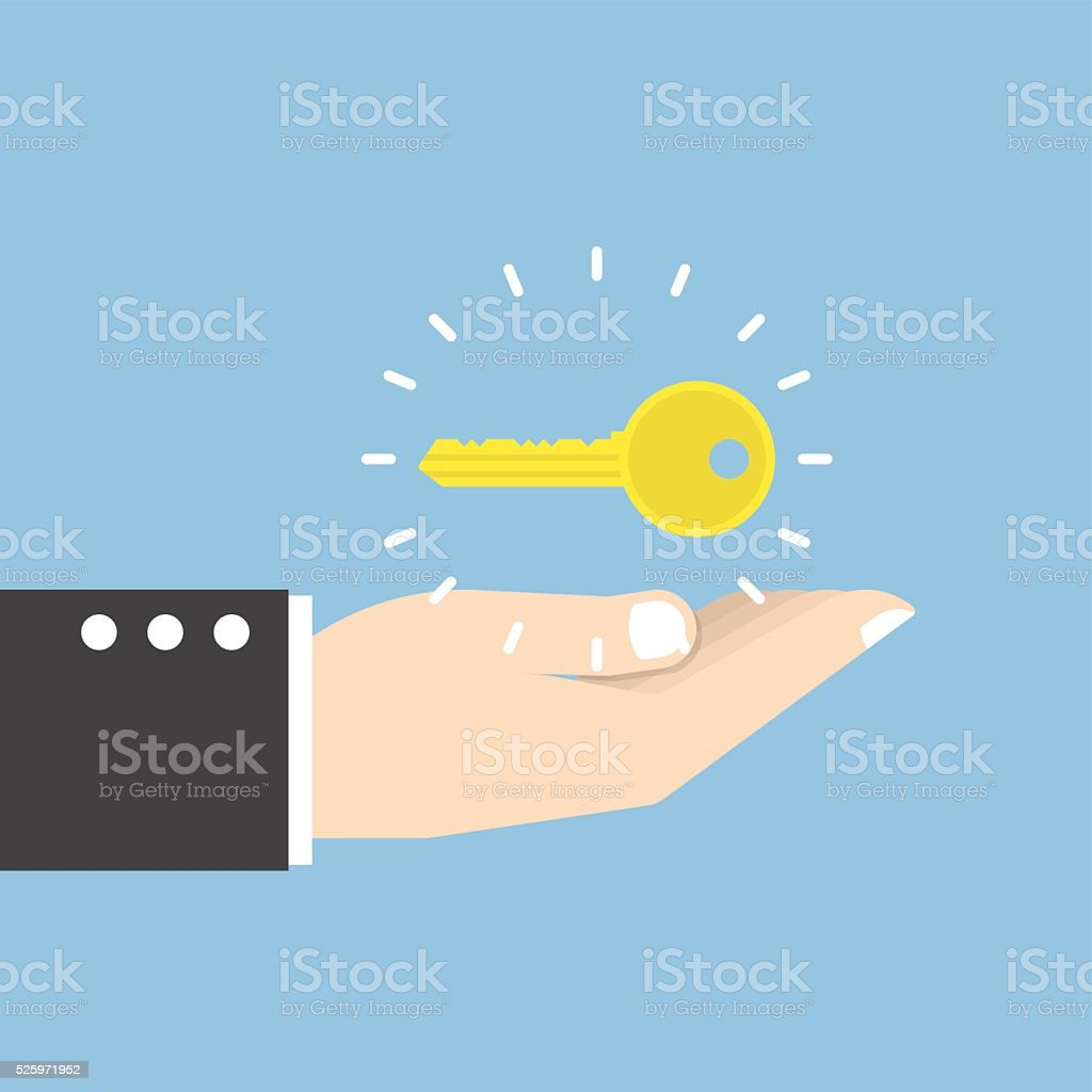 Businessman with golden key over his hand vector art illustration