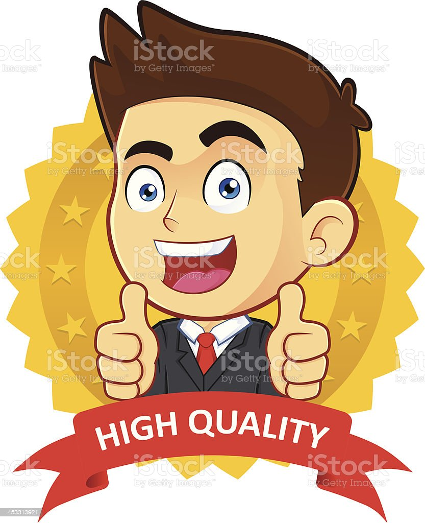 Businessman with Guarantee Icon vector art illustration