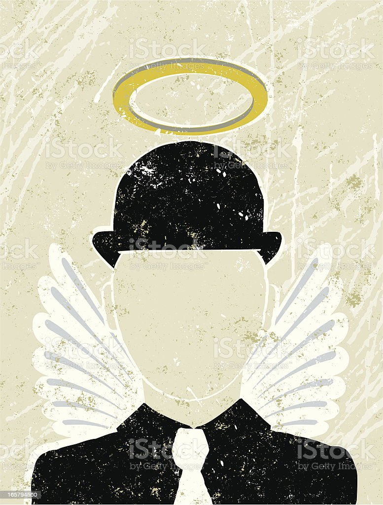 Businessman with Halo and Wings, Guardian Angel vector art illustration