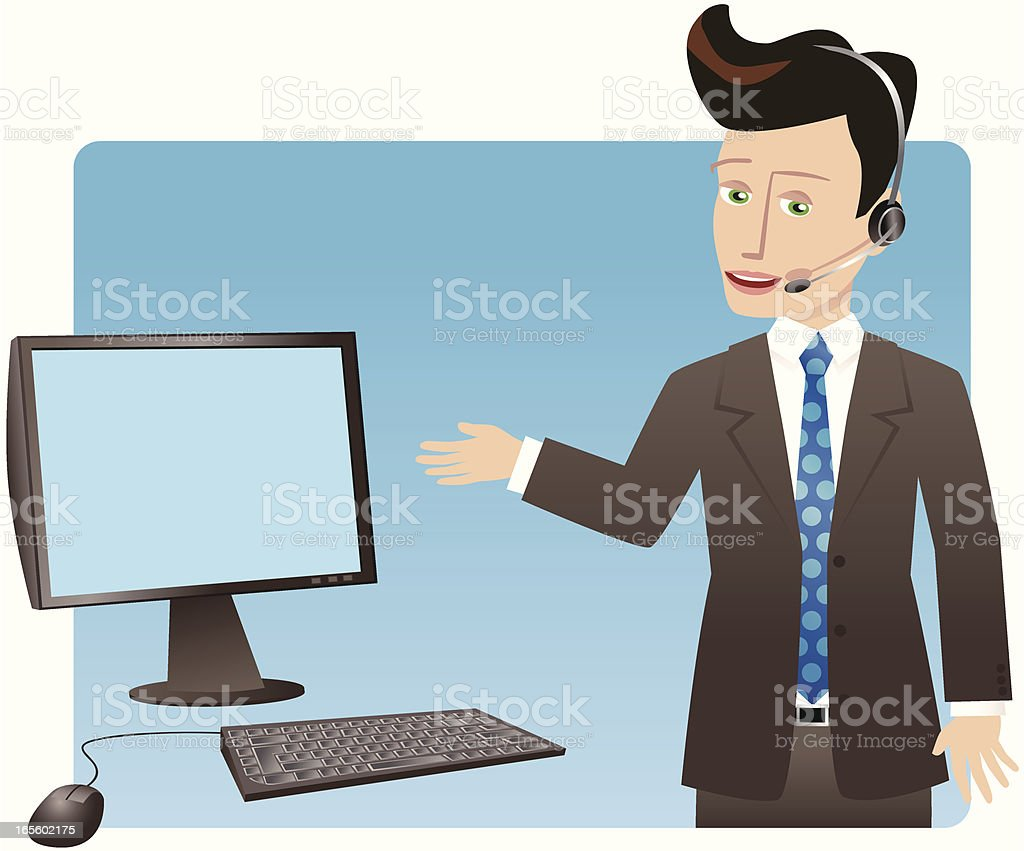 Businessman with headset and computer screen royalty-free stock vector art