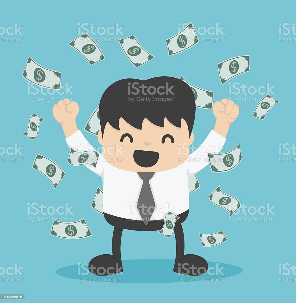 businessman with heap of dollar money vector art illustration