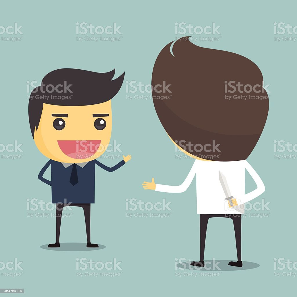 Businessman with hide a knife in the back. vector art illustration