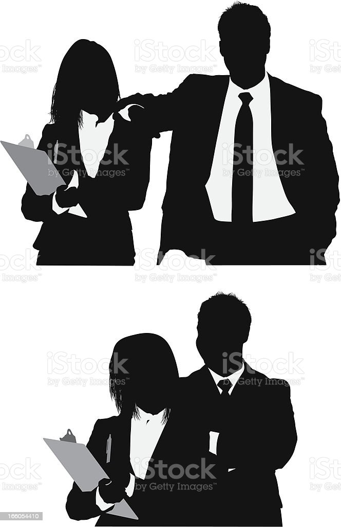 Businessman with his secretary royalty-free stock vector art