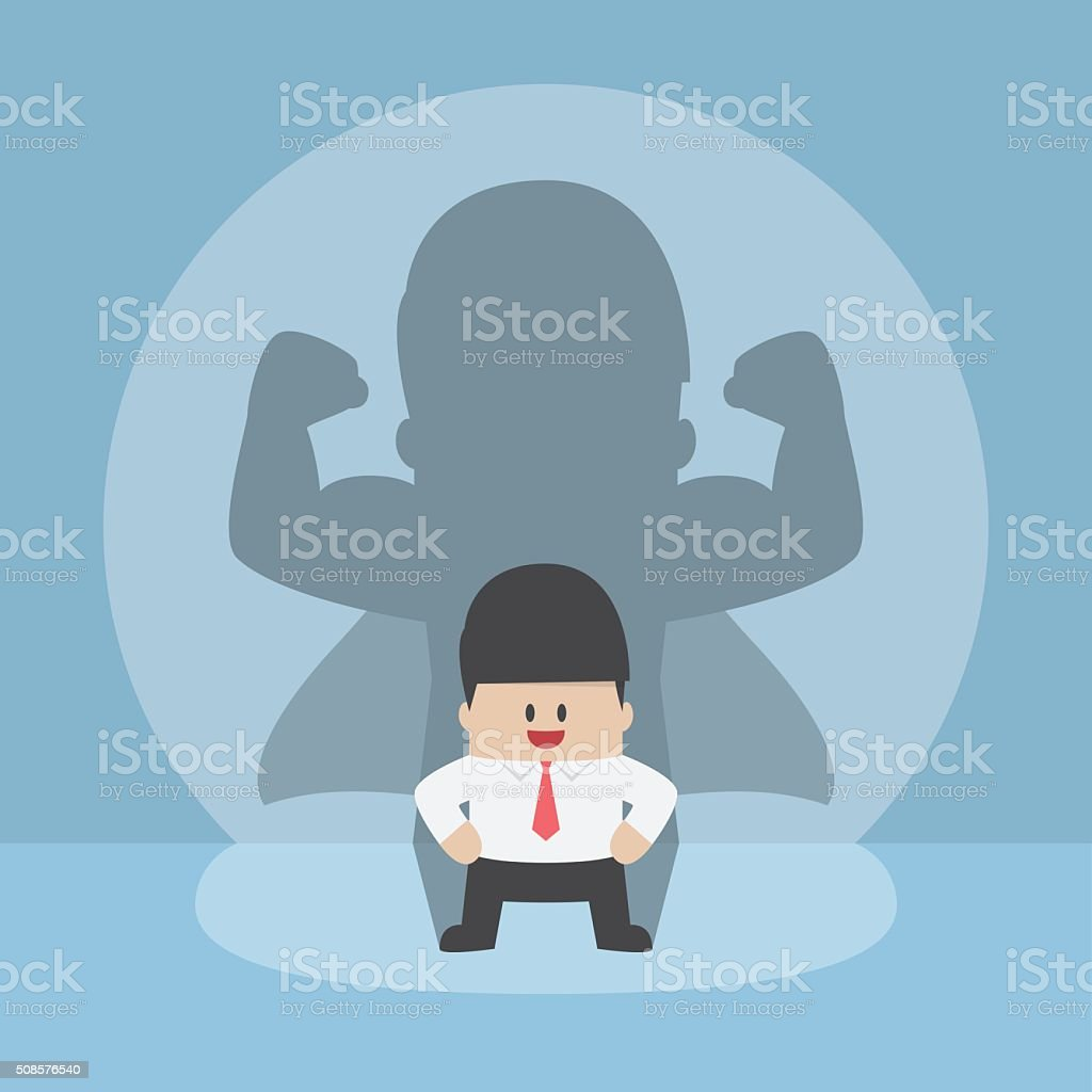 Businessman with his strong shadow vector art illustration